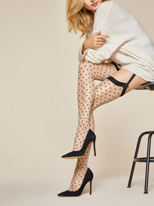 Nude Thigh Highs, Black Polka Dots