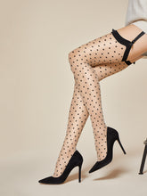 Load image into Gallery viewer, Nude Thigh Highs, Black Polka Dots