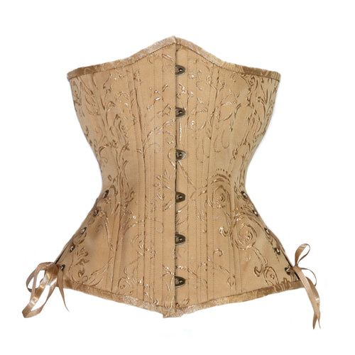 Gold Brocade Corset, Hourglass Silhouette, Long
