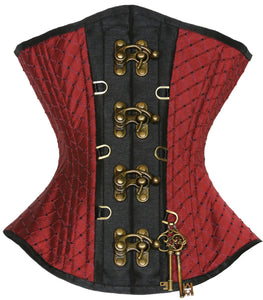 Maroon Corset with Clasps and Keys, Hourglass Silhouette, Regular