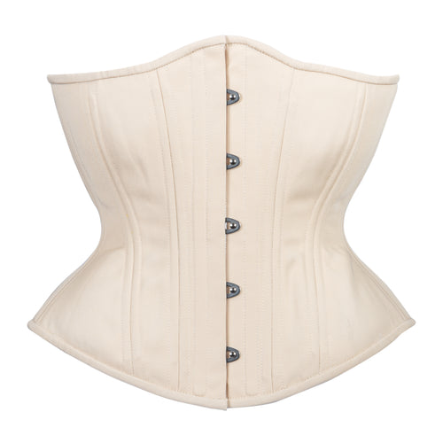Beige Cotton Novice Corset, Hourglass Silhouette, Regular