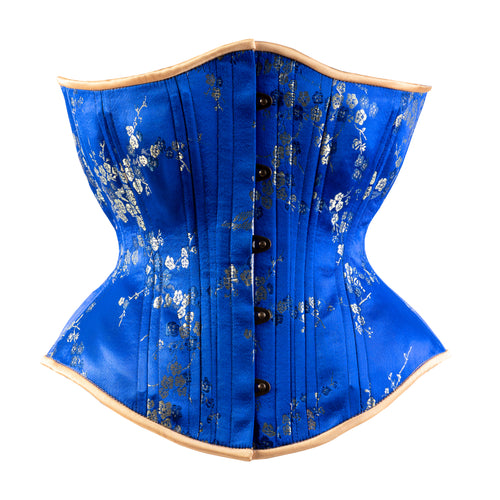 Royal Blue Cherry Blossom Novice Corset, Hourglass Silhouette, Regular