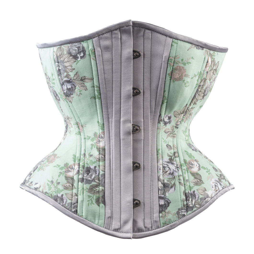 Mint and Silver Toile Novice Corset, Hourglass Silhouette, Regular
