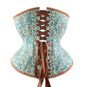 Bohemian Teal Novice Corset, Hourglass Silhouette, Regular