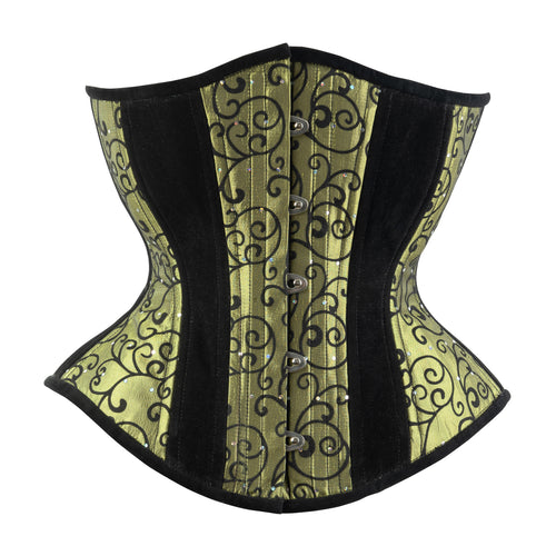 Green Flocking Novice Corset, Hourglass Silhouette, Regular