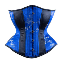 Load image into Gallery viewer, Blue Cherry Blossoms with Silver Novice Corset, Hourglass Silhouette, Regular