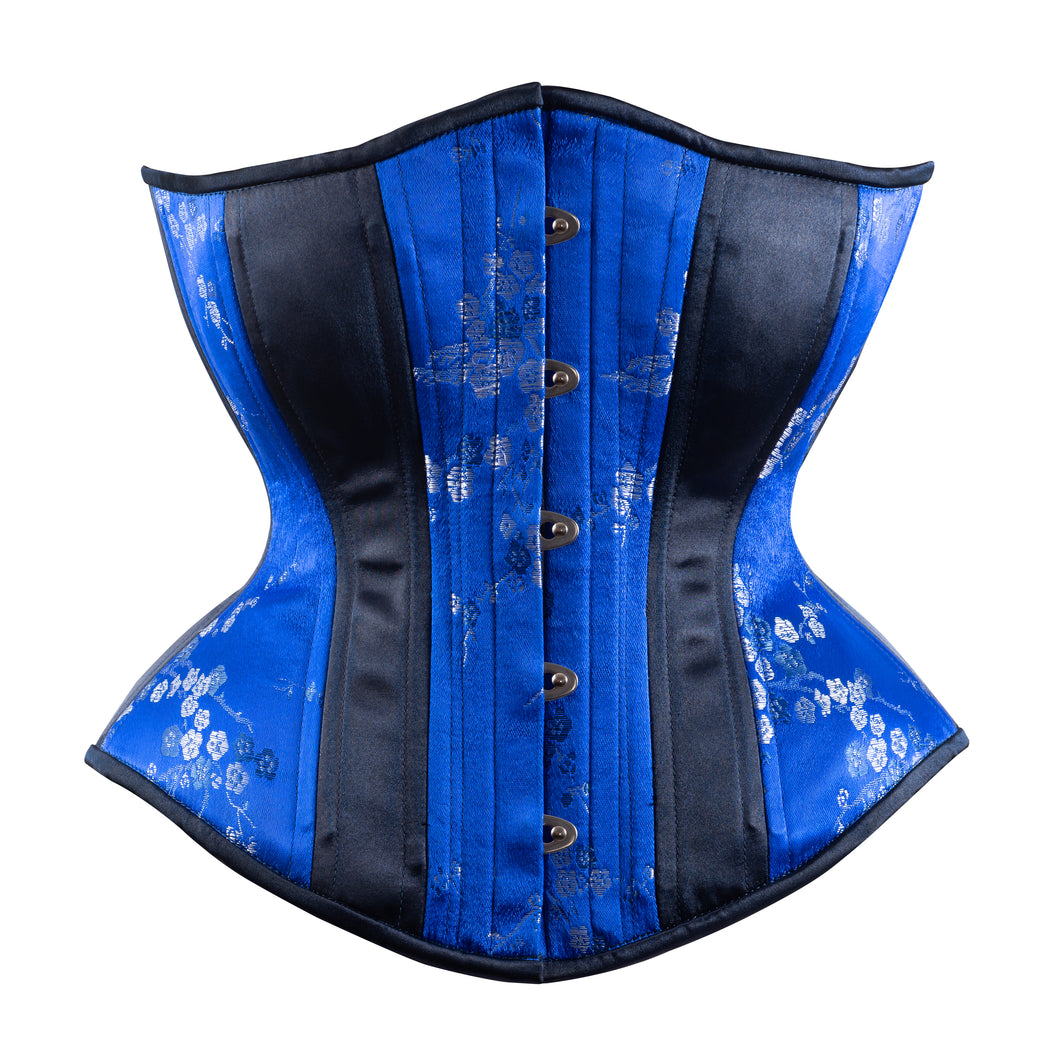 Blue Cherry Blossoms with Silver Novice Corset, Hourglass Silhouette, Regular