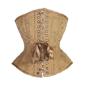 Gold Brocade Corset, Hourglass Silhouette, Regular