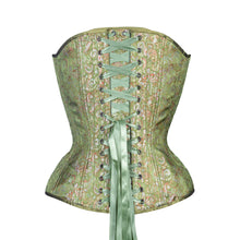Load image into Gallery viewer, Green Brocade Overbust Corset, Hourglass Silhouette, Regular