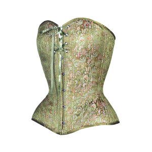 Green Brocade Overbust Corset, Hourglass Silhouette, Regular