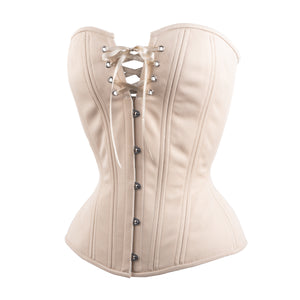 Beige Cotton Overbust Corset, Hourglass Silhouette, Regular