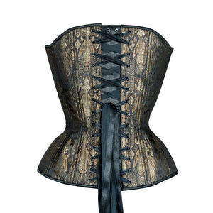 Antique Black and Aged Gold Overbust Corset, Hourglass Silhouette, Regular