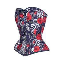 Load image into Gallery viewer, Tattoo Roses Overbust Corset, Hourglass Silhouette, Regular
