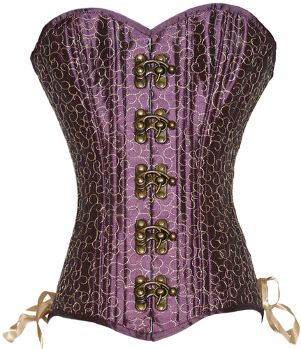 Plum and Gold Overbust Corset, Slim Silhouette, Regular