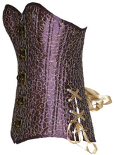 Load image into Gallery viewer, Plum and Gold Overbust Corset, Slim Silhouette, Regular