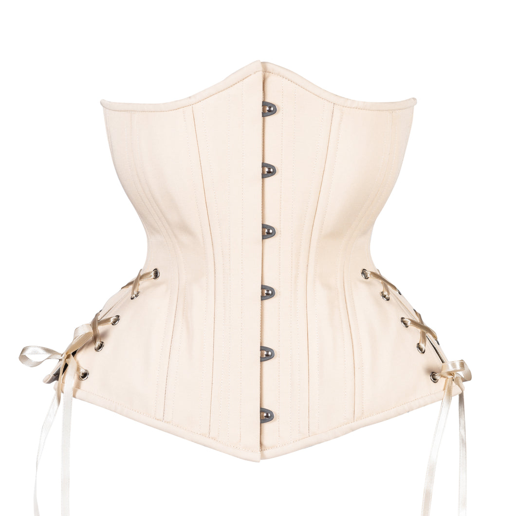 Beige Cotton Corset, Hourglass Silhouette, Long