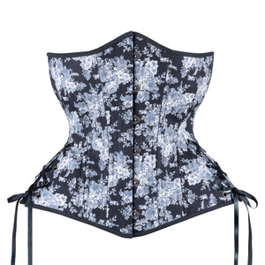 Black and White Toile Corset, Hourglass Silhouette, Long