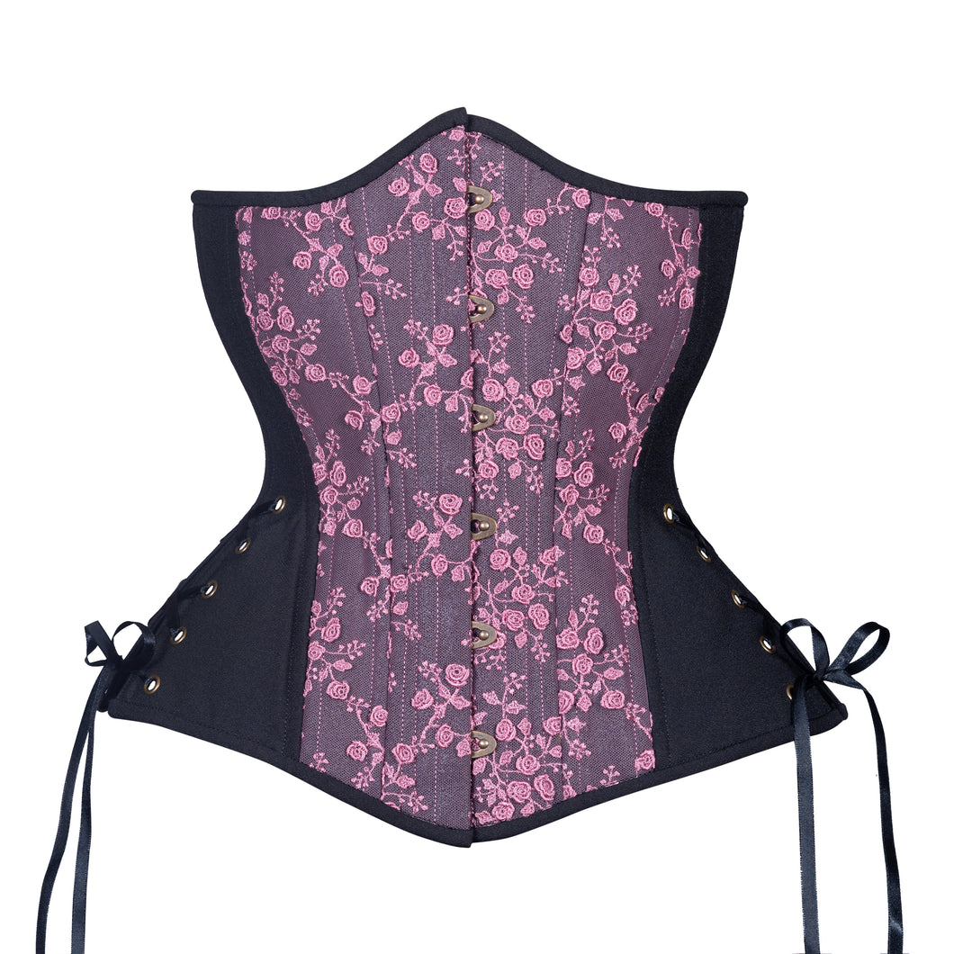 Black Berry Rose Corset, Hourglass Silhouette, Long