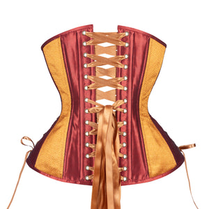 Golden Wine Corset, Hourglass Silhouette, Long