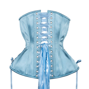 Dusty Blue Satin Corset, Hourglass Silhouette, Long