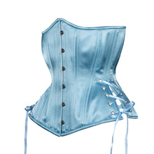 Load image into Gallery viewer, Dusty Blue Satin Corset, Hourglass Silhouette, Long