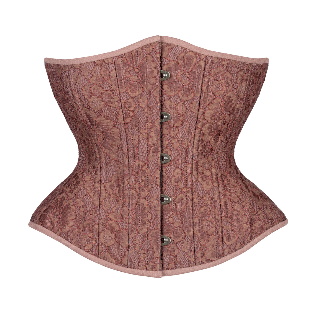 Cinnamon Lace Corset, Hourglass Silhouette, Regular