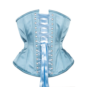 Dusty Blue Satin Corset, Hourglass Silhouette, Regular
