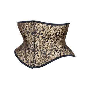 Gold Leaf on Black Corset, Hourglass Silhouette, Short