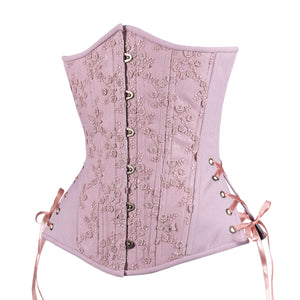 Dusty Rose Corset, Slim Silhouette, Long
