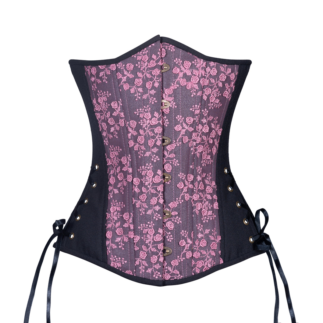 Black Berry Rose Corset, Slim Silhouette, Long