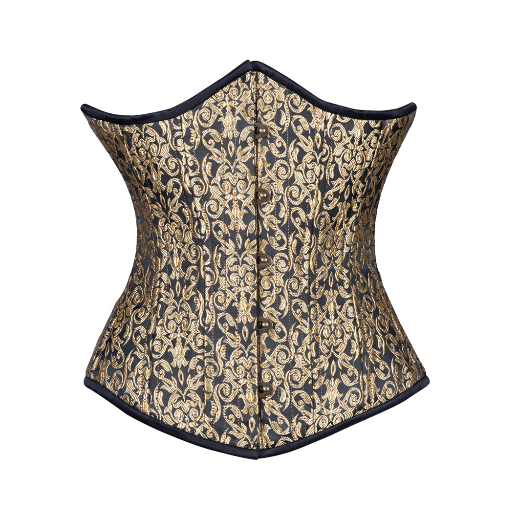 Gold Leaf on Black Corset, Slim Silhouette, Regular