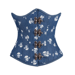 Denim Skulls Corset, Slim Silhouette, Regular