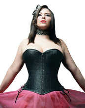 Load image into Gallery viewer, Black Floral Overbust Corset