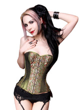 Load image into Gallery viewer, Steampunk Green Overbust Corset
