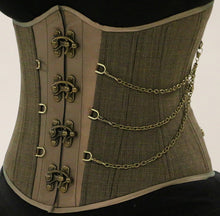 Load image into Gallery viewer, Steampunk Plaid Chained Corset
