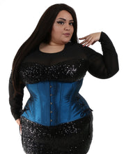 Load image into Gallery viewer, Shiny Blue Long Corset