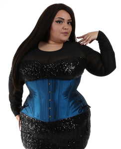Shiny Blue Long Corset
