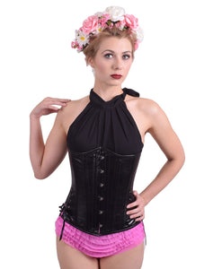 Black Leather Long Corset