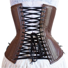 Load image into Gallery viewer, Brown Leather Long Corset