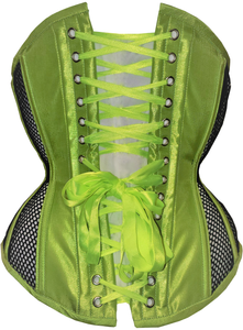 Neon Green with Black Mesh Underbust Corset, CUSTOM ORDER