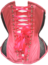 Load image into Gallery viewer, Neon Pink with Black Mesh Underbust Corset, Multi Silhouette