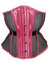 Load image into Gallery viewer, Neon Pink with Black Mesh Underbust Corset, CUSTOM ORDER