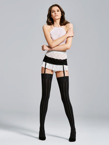 Black Thigh Highs, Tonal Vertical Striped