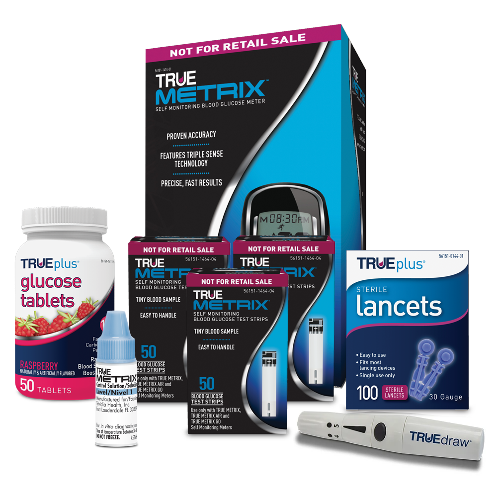 TRUE METRIX® Blood Glucose Testing Package (Meter Kit, 150 Strips, Lancets & Device, Control Solution, Raspberry Glucose Tabs)