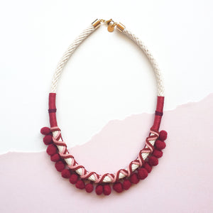 Load image into Gallery viewer, MAROON POMMIE NECKLACE