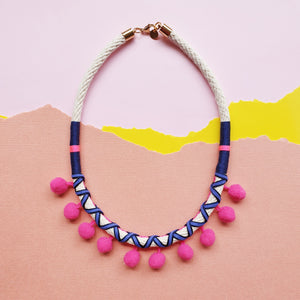 HOT PINK POMMIE NECKLACE