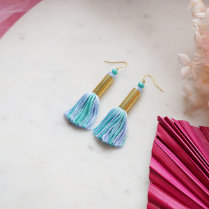 Load image into Gallery viewer, Mini Tassel Earrings - Blue Mint Green
