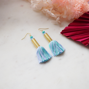 Mini Tassel Earrings - Blue Mint Green