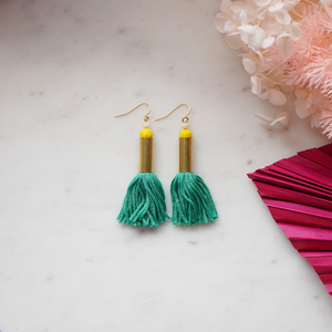 Mini Tassel Earrings - Green
