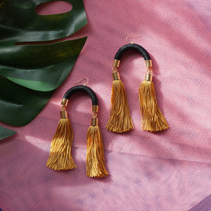 Load image into Gallery viewer, MS. HILL BLACK & GOLD TASSEL EARRINGS